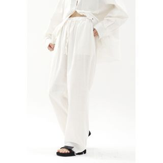 SIMPLY MOOD - Drawstring Wide-Leg Pants