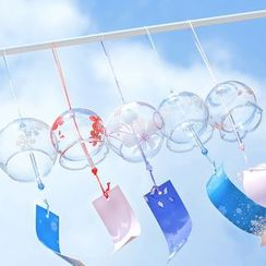 Lithronic - Sakura Print Glass Wind Chime Hanging Decoration