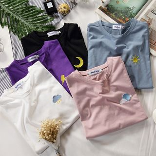 Ketaph - Short-Sleeve Weather Embroidery T-Shirt