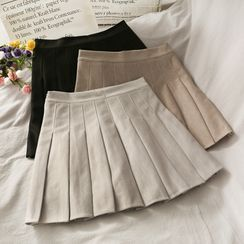 Lemongrass - High-Waist Pleated Mini Skirt