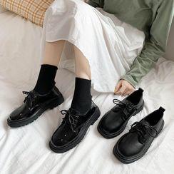 Belbie - Faux Leather Lace-Up Platform Shoes