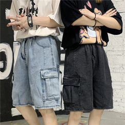 Shineon Studio - Cargo Straight Cut Denim Shorts