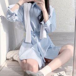Leoom - Plain Shirtdress With Sash