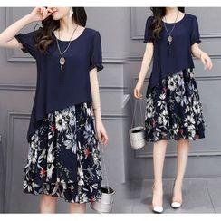 Lewwe - Mock Two-Piece Short-Sleeve Chiffon Dress