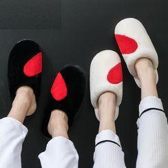 EMERY.V - Couple Matching Heart Print Fleece Slippers / Set