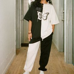 BrickBlack - Color-Block Butterfly Print Lettering Short-Sleeve T-Shirt / Color-Block Sweatpants