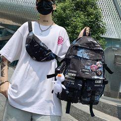 Novila(ノビラ) - Lettering Nylon Backpack / Sling Bag / Set
