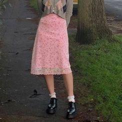 Genrovia(ジェンロビア) - Floral Print Midi Skirt