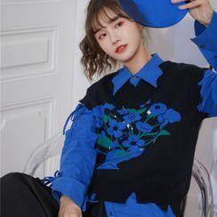 AAML - Plain Lace-Up Long-Sleeve Shirt / Color-Block Knit Vest
