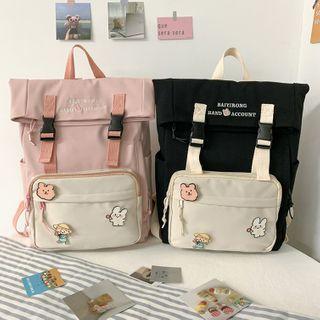 Gokk(ゴック) - Letter Embroidered Nylon Backpack