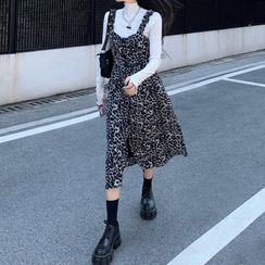 Dute - Plain Long-Sleeve T-Shirt / Leopard Print Midi Pinafore Dress