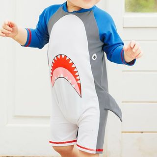Aqua Wave - Kids Shark Print  Long-Sleeve Rashguard  / Swim Goggles / Ear Plugs / Nose Clip / Drawstring Organizer Bag / Set