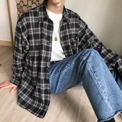 Teddy Tumble(テディータンブル) - Couple Matching Long-Sleeve Plaid Shirt