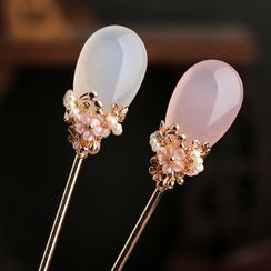 Kanzashi - Retro Agate Flower Hair Stick