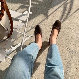 UPTOWNHOLIC - Round-Toe Bow-Detail Flats