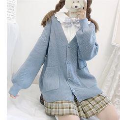 Sisyphi - Long-Sleeve Dotted Blouse / V-Neck Cardigan / Mini Plaid Pleated Skirt