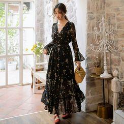 12th Tone - Bell-Sleeve Floral Maxi Chiffon Dress