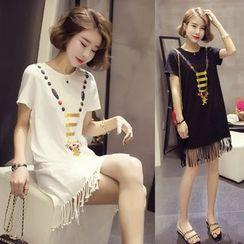 Lumierii - Short-Sleeve Printed Mini T-Shirt Dress