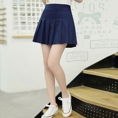 YICON - Pleated Mini A-Line Skirt