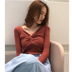 Mongal - V领扭拧罗纹针织上衣