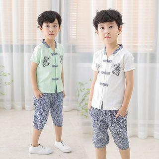 SEE SAW - Kids Set: Short-Sleeve Cheongsam Top + Printed Shorts
