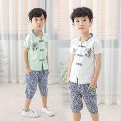 SEE SAW - 小童套装:短袖旗袍上衣 + 印花短裤