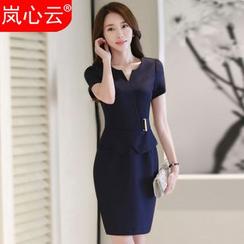 Skyheart - Short-Sleeve Peplum Dress / Blazer