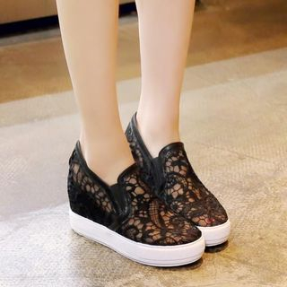 Pretty in Boots - Lace Hidden Wedge Loafers