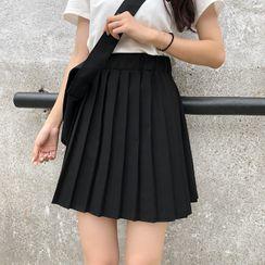 Sisyphi - 纯色打褶裥裙