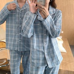 Gecko(ゲコー) - Couple Matching Pajama Set: Plaid Shirt + Lounge Pants