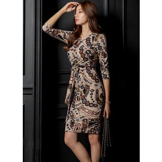 Styleonme - Wrap-Front Patterned Sheath Dress