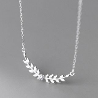 A'ROCH - Leaf Pendant Rhinestone Sterling Silver Necklace
