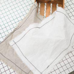 Rabenda - 配色饰缝线麻布茶巾