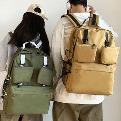 SUNMAN - Set: Plain Zip Laptop Backpack + Pouch