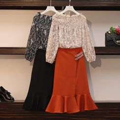 Sugar Town - Set: Off-Shouldered Long-Sleeve Top + Midi Straight-Fit Skirt