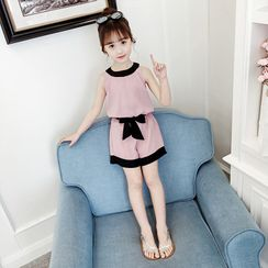 Qin Qin - Set: Kids Sleeveless Top + Ribbon Shorts