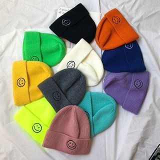 Hats 'n' Tales - Embroidered Smiley Knit Beanie