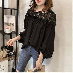 Ilda - 灯笼袖蕾丝边衬衫