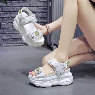 Sleeko - Buckled Slingback Wedge Platform Sandals