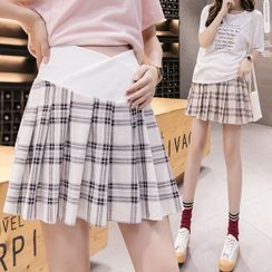 Ikanox - Maternity Plaid Pleated Skirt