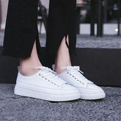 Shoes Galore - Plain Genuine Leather Sneakers