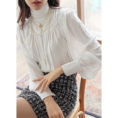 Styleonme - High-Neck Dolman-Sleeve Shirred Blouse