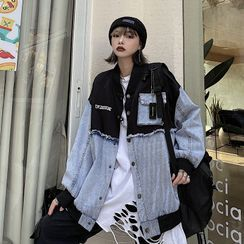 Giuliana(ギーリアナ) - Lettering Embroidered Denim Panel Button-Up Jacket
