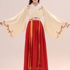 Snow Hymn - Kids Hanfu Set: Long-Sleeve Dress + Corset Belt