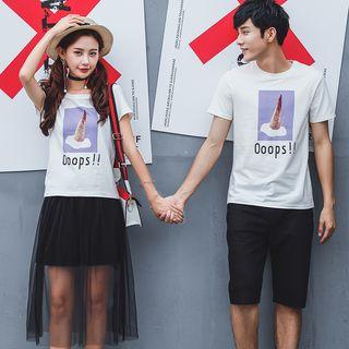 NoonSun - Couple Matching Printed Short-Sleeve T-Shirt