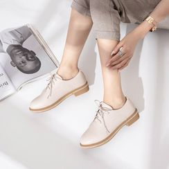 Martha - Faux Leather Lace Up Oxford Shoes