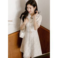 Styleonme - Lace Midi Shirtwaist Dress with Belt