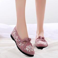 Kyotopia - Floral Embroidered Flats (Various Designs)