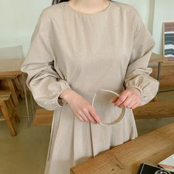 Seoul Fashion(ソウルファッション) - Tie-Side Maxi Pleated Dress