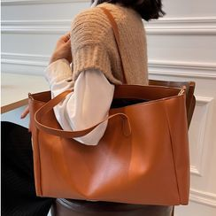 Tiff - Faux Leather Carryall Bag